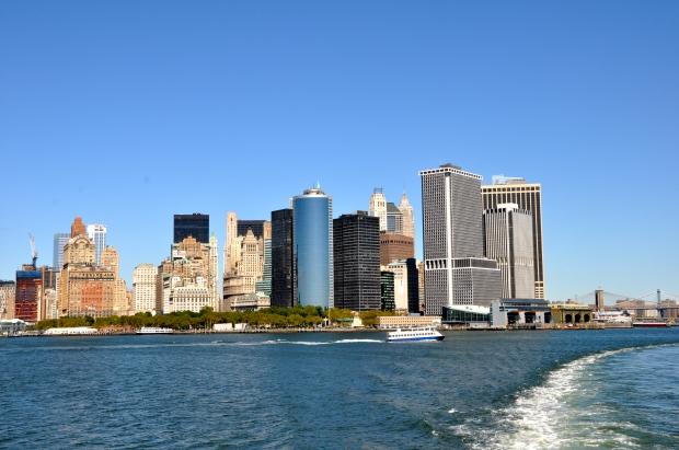 Panoramic view of Manhattan taken from Staten Island ferry